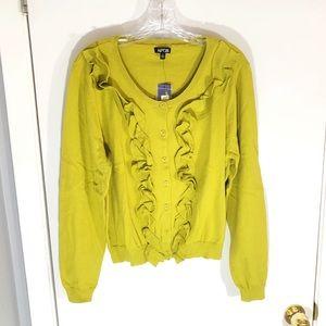 NWT Apt. 9 Golden Olive Ruffled Cardigan Sweater